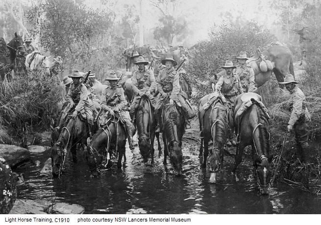 Light Horse Training.  Due to various attempts to establish a compulsory training regime, ultimately overshadowed by recommendations of a report by Lord Kitchener following his inspection of   1910, most of the other ranks in the light horse were young, 19-20.  They served under conditions where they were precluded from service outside the borders of the Commonwealth (of Australia).