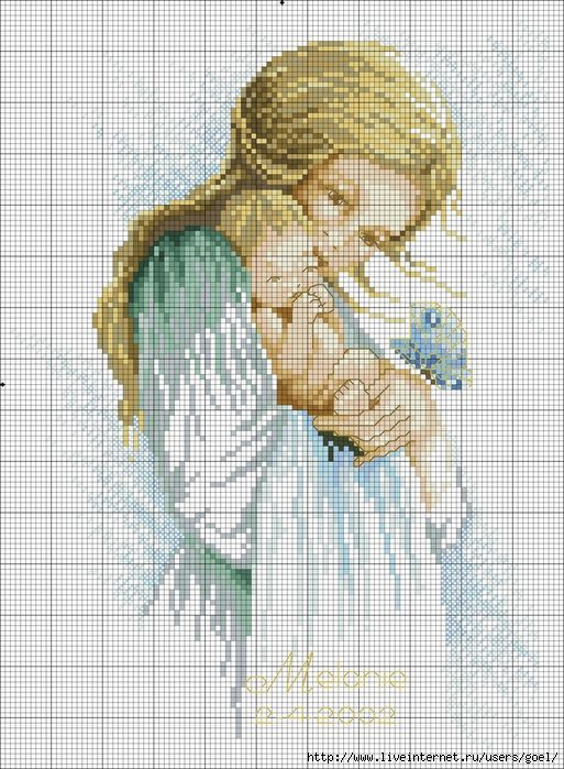 0 point de croix mere et bebe blonds - cross stitch blonde mother and baby