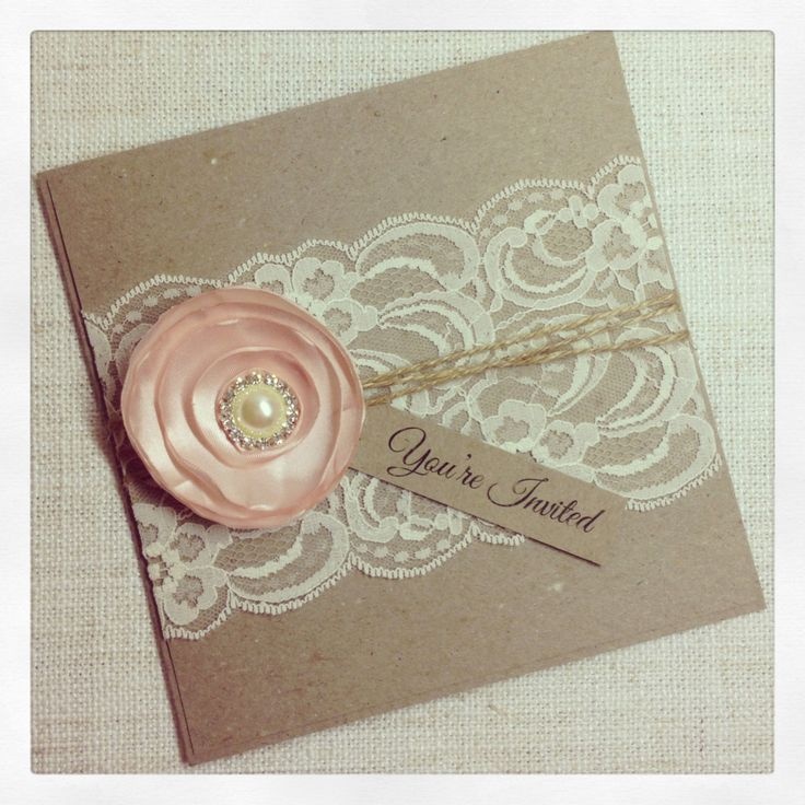 Rustic+Wedding+Invitation+with+satin+flower++by+StunningStationery,+$12.00