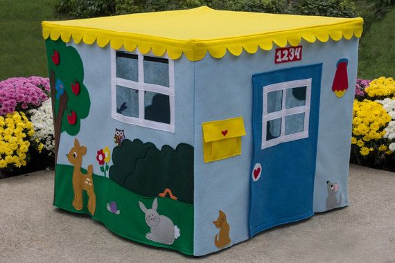 Card Table Playhouse Animal Sanctuary, Felt Fabric Playhouse, Custom Order, Personalized,