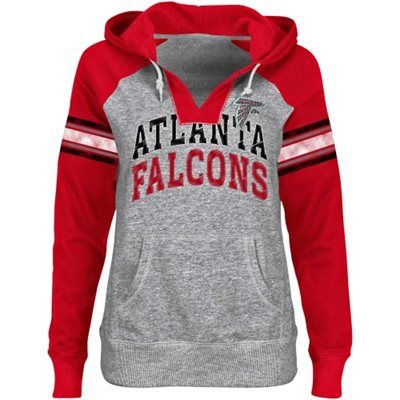 Atlanta Falcons Ladies Huddle V-Neck Hoodie - Ash/Red