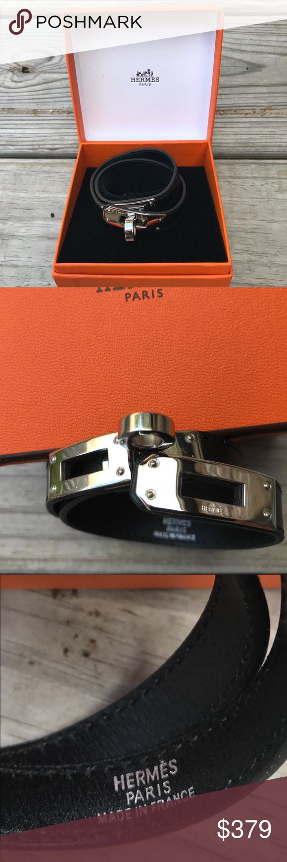 🎁❤️ HERMÈS Kelly Double Tour Wrap Bracelet. Authentic Palladium -plated Hermès Kelly Double Tour wrap bracelet featuring black leather und turn - lock closure. Metal finish: High Polish Condition: like new , no scratches on metal or leather. HERMES Jewelry Bracelets