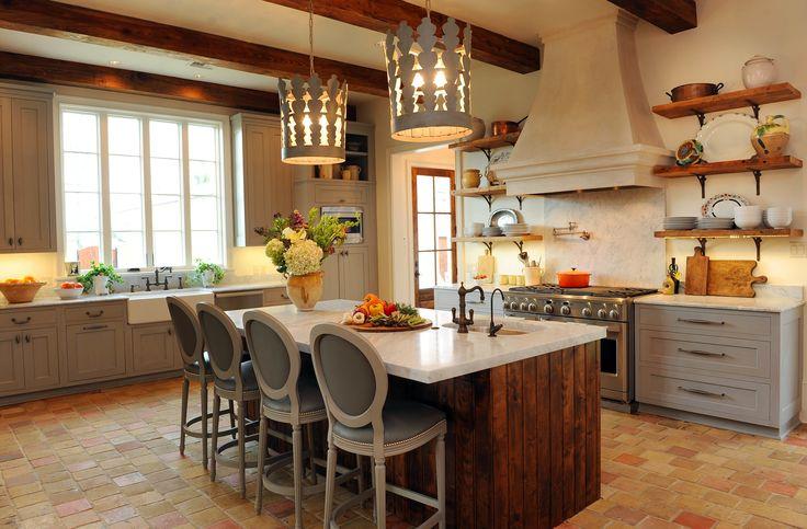 Kitchen Countertops Are Bianco Carrara Honed Marble Antique Reclaimed Terra Cotta Tile Flooring