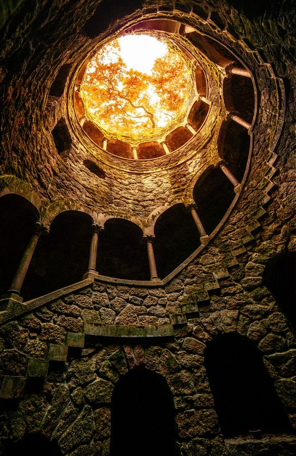 From bottom of the well at the UNESCO World Heritage Site 'Quinta da Regaleira', Sintra, Portugal