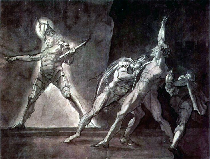 #gothic fantasy. Henry Fuseli illustration of Hamlet and his father's Ghost