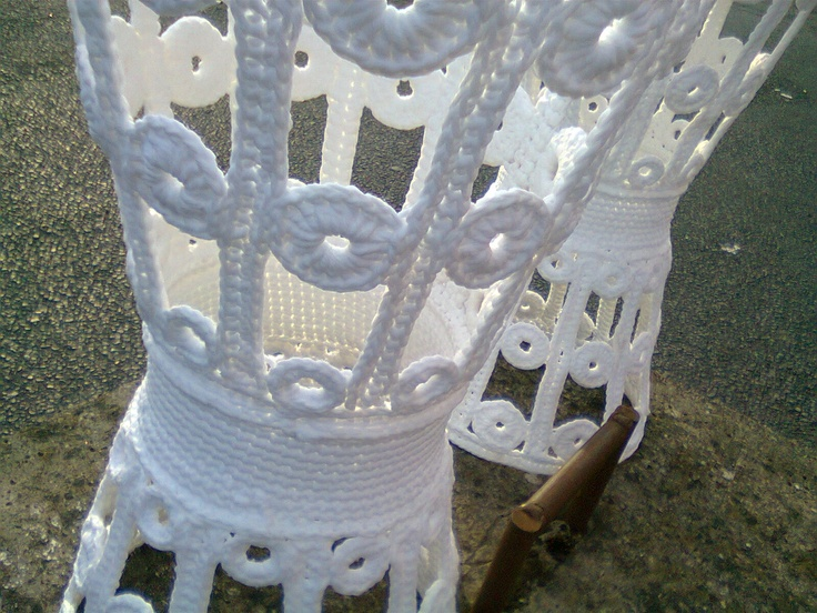 Crochet tables outdoors
