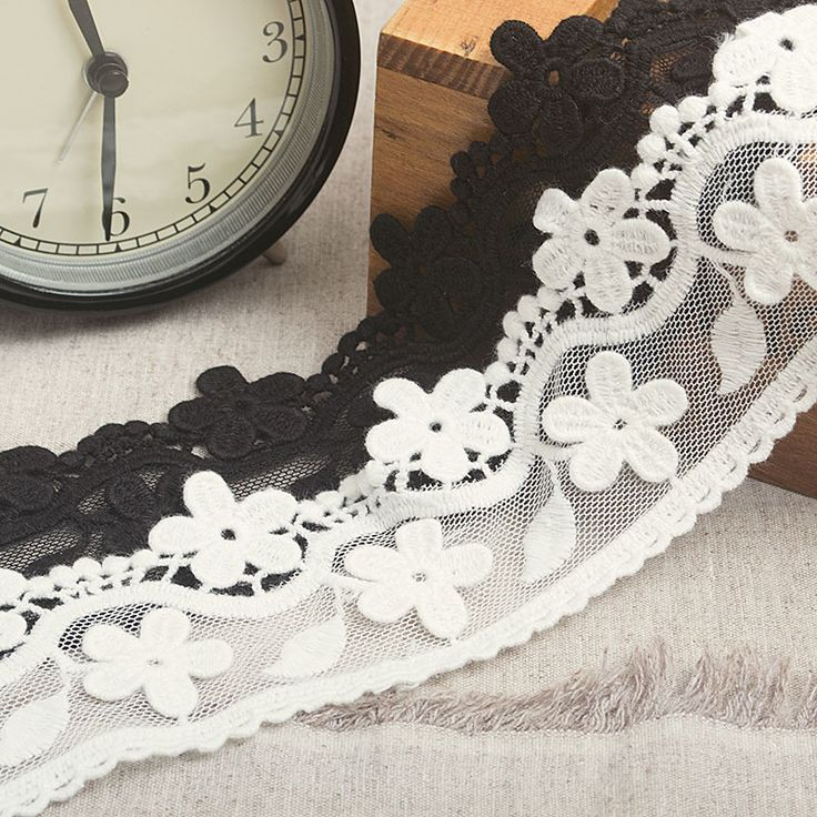 6 scenes of high quality black &; white perspective fence flower lace embroidery