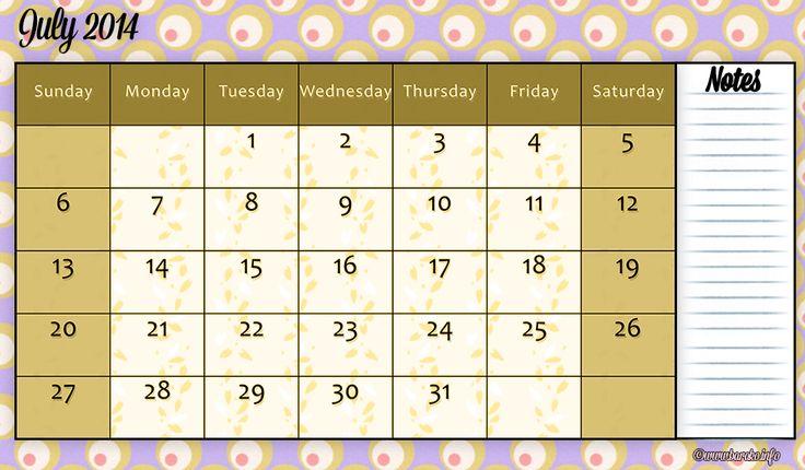 289 Best Printable Calendar July 2014 Images On Pinterest Free