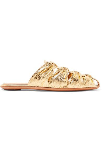 The Row - Capri Metallic Elaphe Slippers - Gold - IT39
