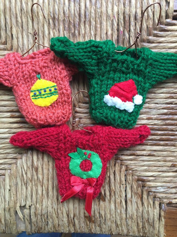 Set of 3 handcrafted mini sweater Christmas ornaments with xmas theme appliques, from Purple Basset https://www.etsy.com/listing/532573442/handmade-christmas-ornaments-set-of-3