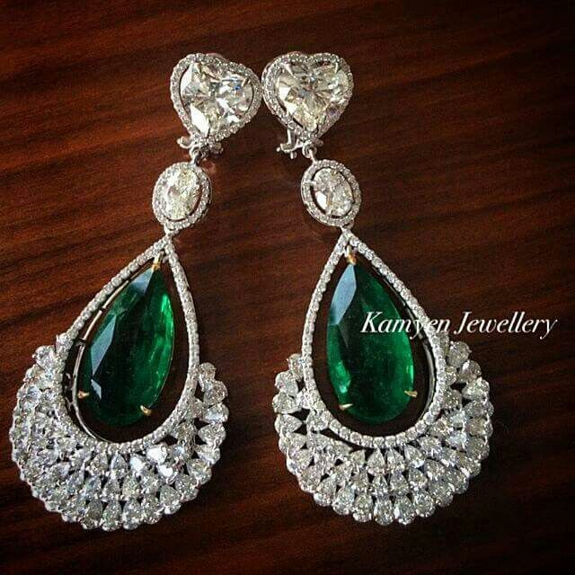 #eargasm from @kamyenjewellery 4 carat heart shapes paired with 16 carat Zambian emeralds