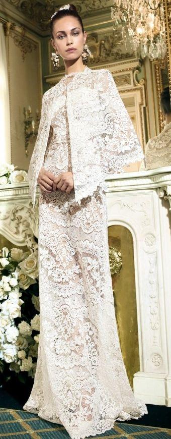 YolanCris 2014 white lace gown - black tie affair