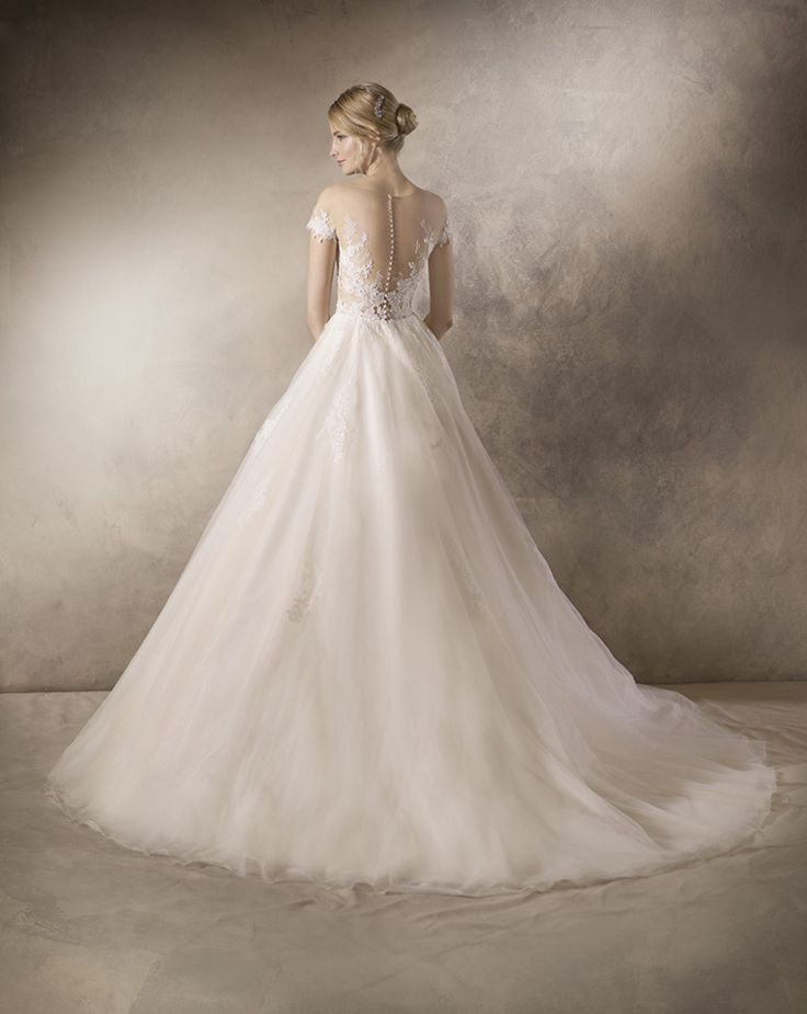 Most beautiful Illusion open back with elegant lace wedding dress @ House of Silk Bridal Studio