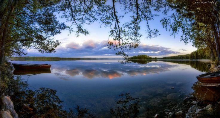 Jezioro, Łódki, Drzewa, Lasy, Świt