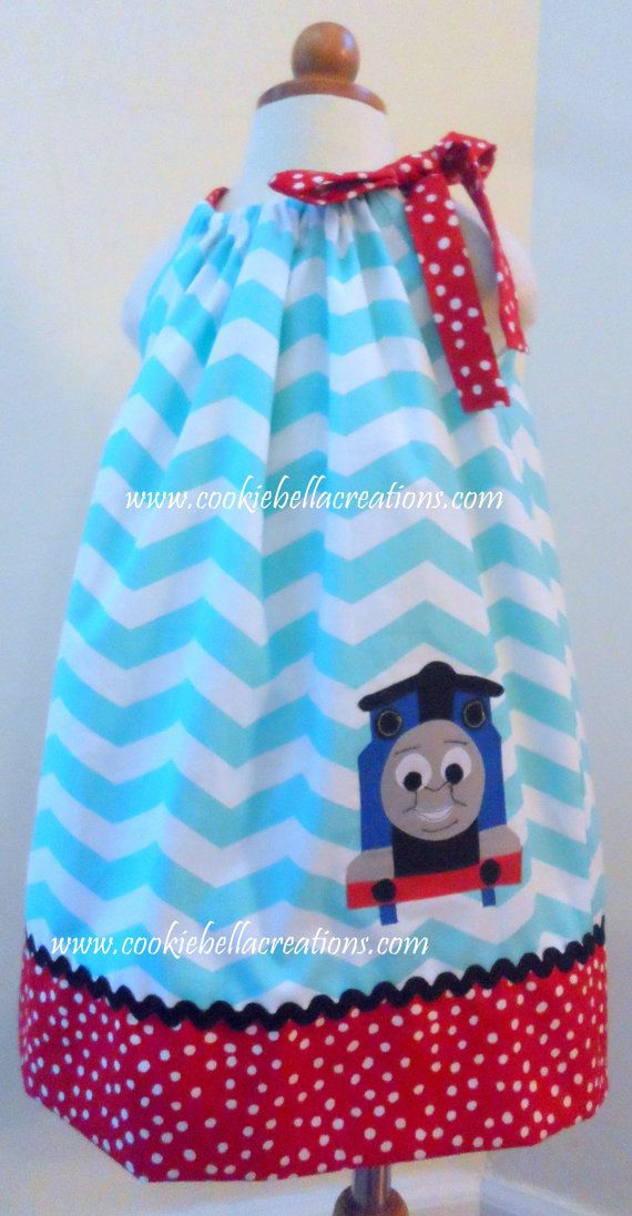 NEW Thomas the Train Inspired Aqua & Red by CookieBellaCreations
