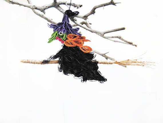 Quilled Witch door hanger Halloween ornaments Folk art Ugly