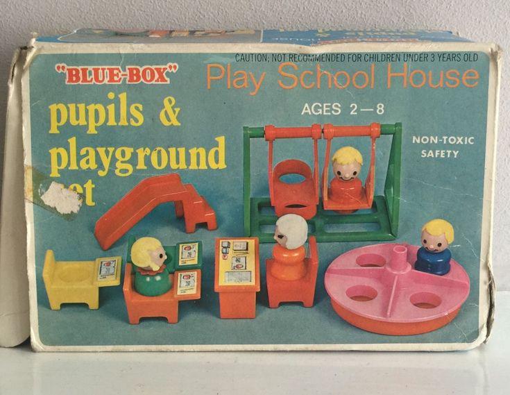 Blue Box Toys Play School House   Pupils U0026 Playground Set 60s Vintage | EBay