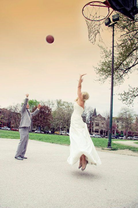 Basketball on your wedding day... she's definitely the one!