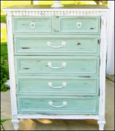 duck egg blue and pure white chalk paint painted dresser.
