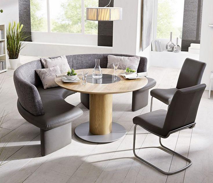 runder kleiner esstisch zwei freischwinger sthle und eine halbrunde sitzbank - Kleiner Klappbarer Esstisch Und Sthle