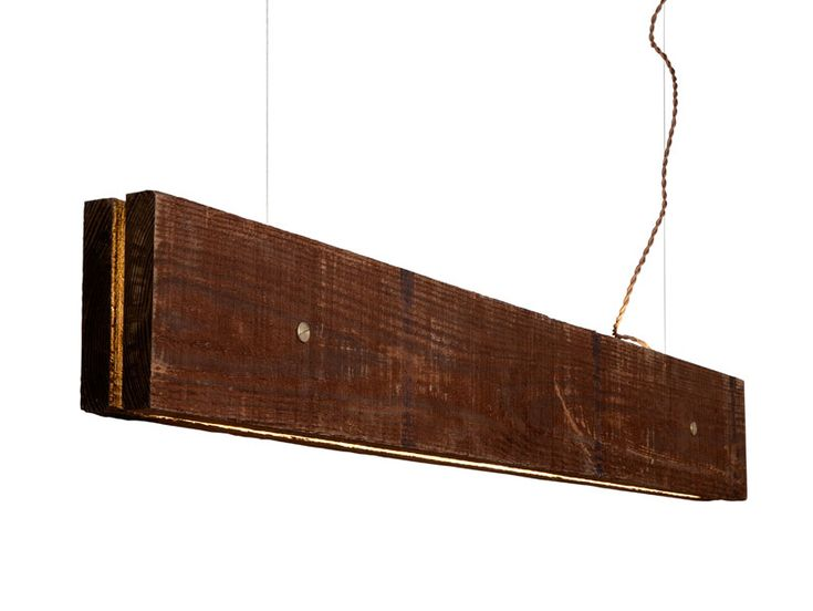 Plank light fixture made from raw wood