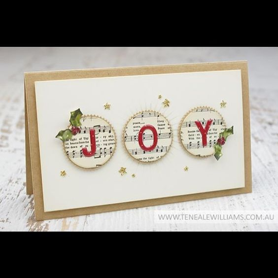 handmade Christmas card by Teneale (@teneale_w) ... JOY spelled out on circles of sheet music ... great design ... Stampin' Up!: