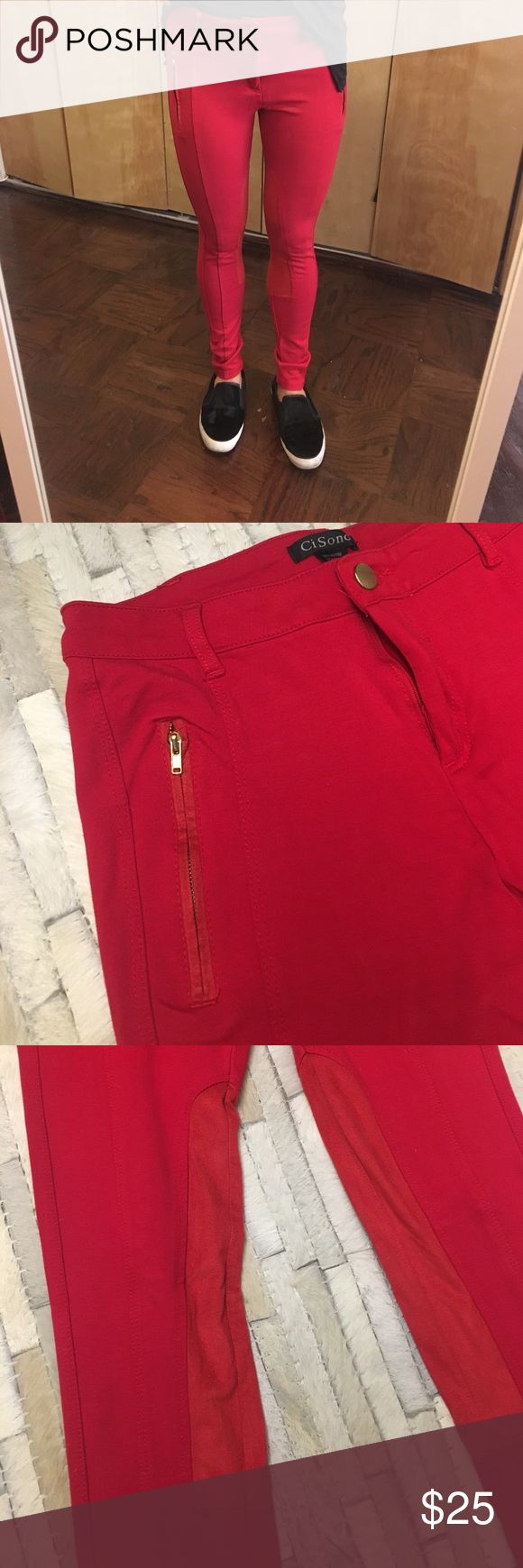 Ci Sono Red Skinny Pants These Italian red riding pants are like new! Stretchy material, with suede and zipper details make these super cute! Ci Sono Pants Skinny