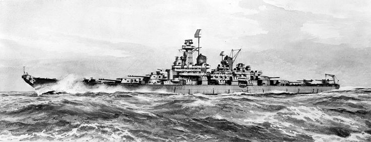 An artist impression of what a Montana-class battleship would look like.