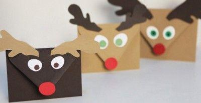 Sobres para postales de Navidad con forma de reno