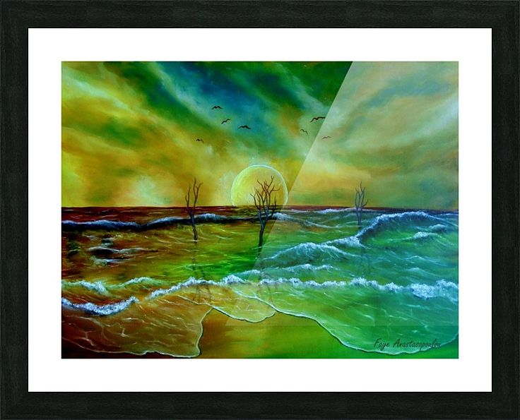 Framed, Art Print, coastal,seascape,scene,beach,waves,water,sandy,sunset,sky,dead,trees,nature,saltwater,ocean,sea,planet,picturesque,vibrant,vivid,colorful,green,blue,impressive,mesmerizing,magical,cool,beautiful,powerful,atmospheric,east,coast,fantasy,contemporary,imagination,,mystical,dreamy,dreamlike,surreal,realism,fine,oil,wall,art,images,home,office,decor,painting,artwork,modern,items,ideas,for sale,pictorem