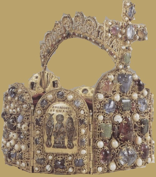 Side view of the Imperial Crown of the Holy Roman Empire with a plate that shows Jesus with two angels. Most of the rulers of the German Kingdom were crowned with it since the high middle ages. Made during the late 10th-11th century.