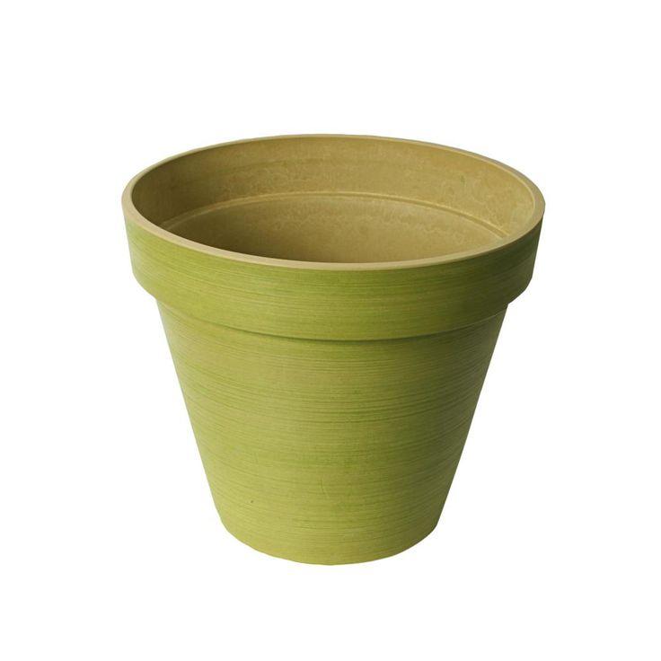 Valencia 14 in. x 12 in. H Polystone Spun Green Round Band Planter Pot