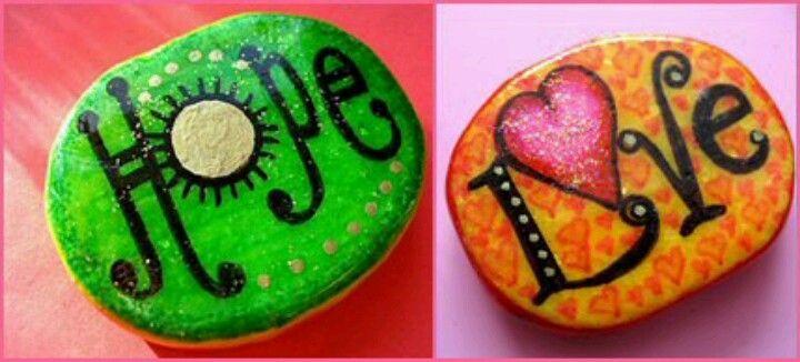 Bemalte Steine - Hoffnung, Liebe - Painted stones <3