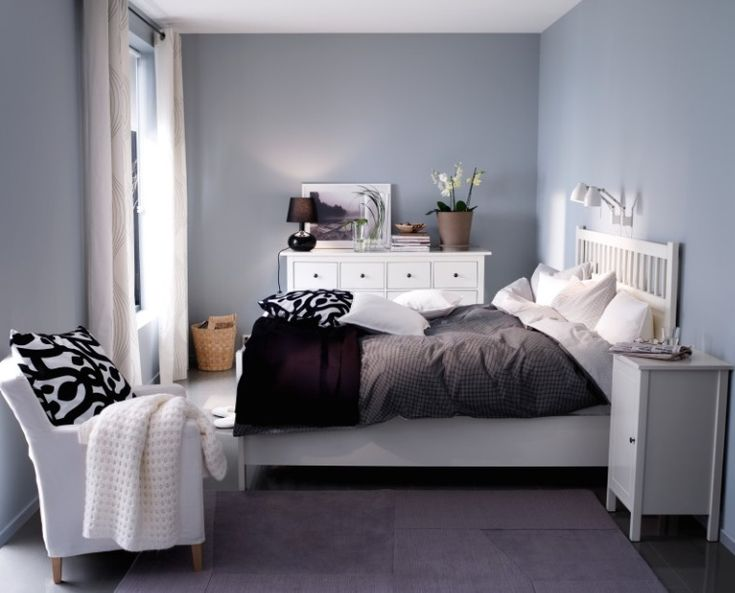 Ikea hemnes bed in white and grey walls for the home - Ikea small bedroom design ideas ...