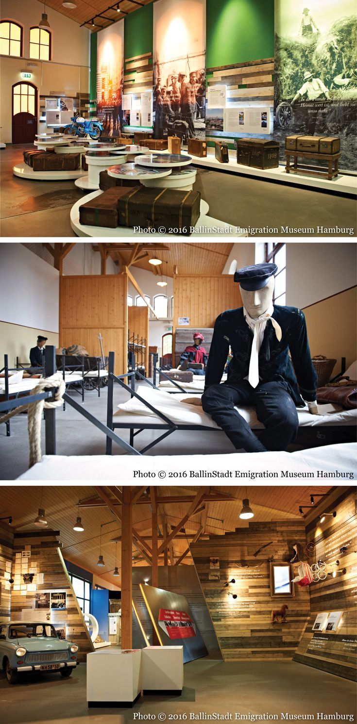 Interior, multi-faceted and dynamic exhibits at the Ballinstadt Emigration Museum Hamburg