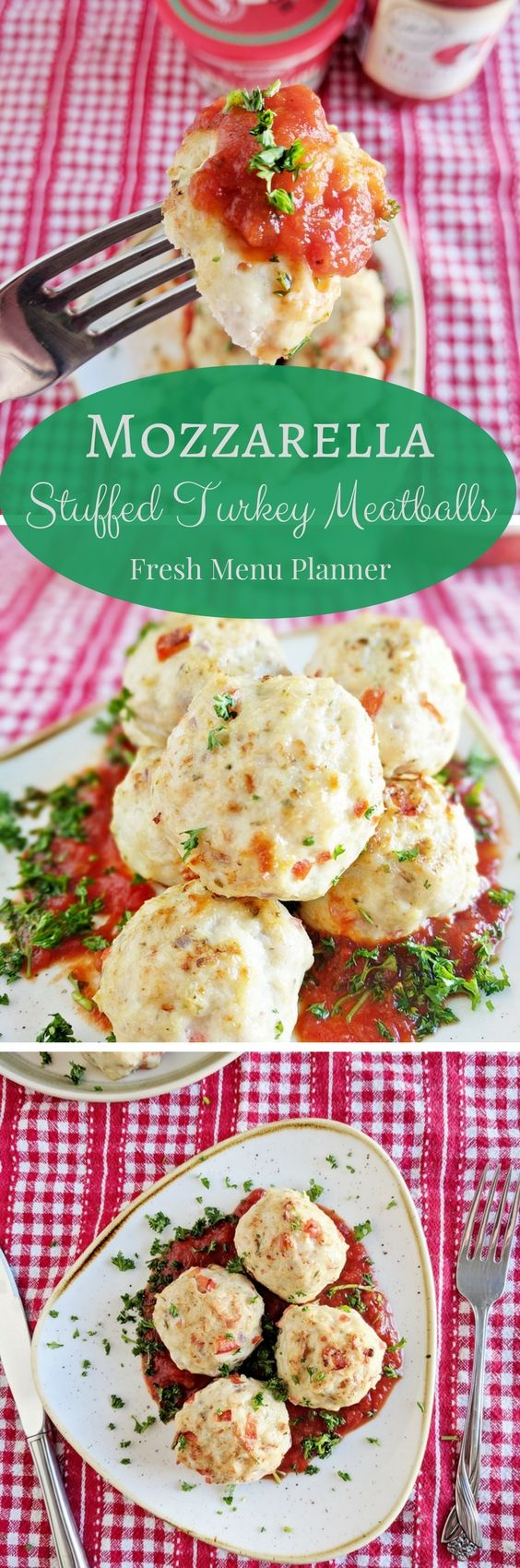 These mozzarella stuffed turkey meatballs are high in protein, and are great with pasta, veggies and starches, or just by themselves as a tasty snack!  They are gluten free too!