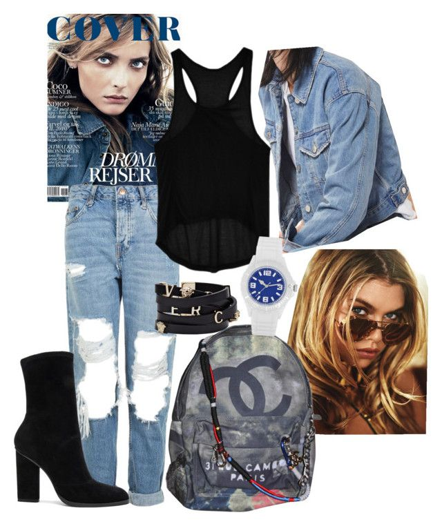 """Denim"" by real-21c on Polyvore featuring Topshop, Go Green M by M, Chanel, Alexander Wang and Versace"