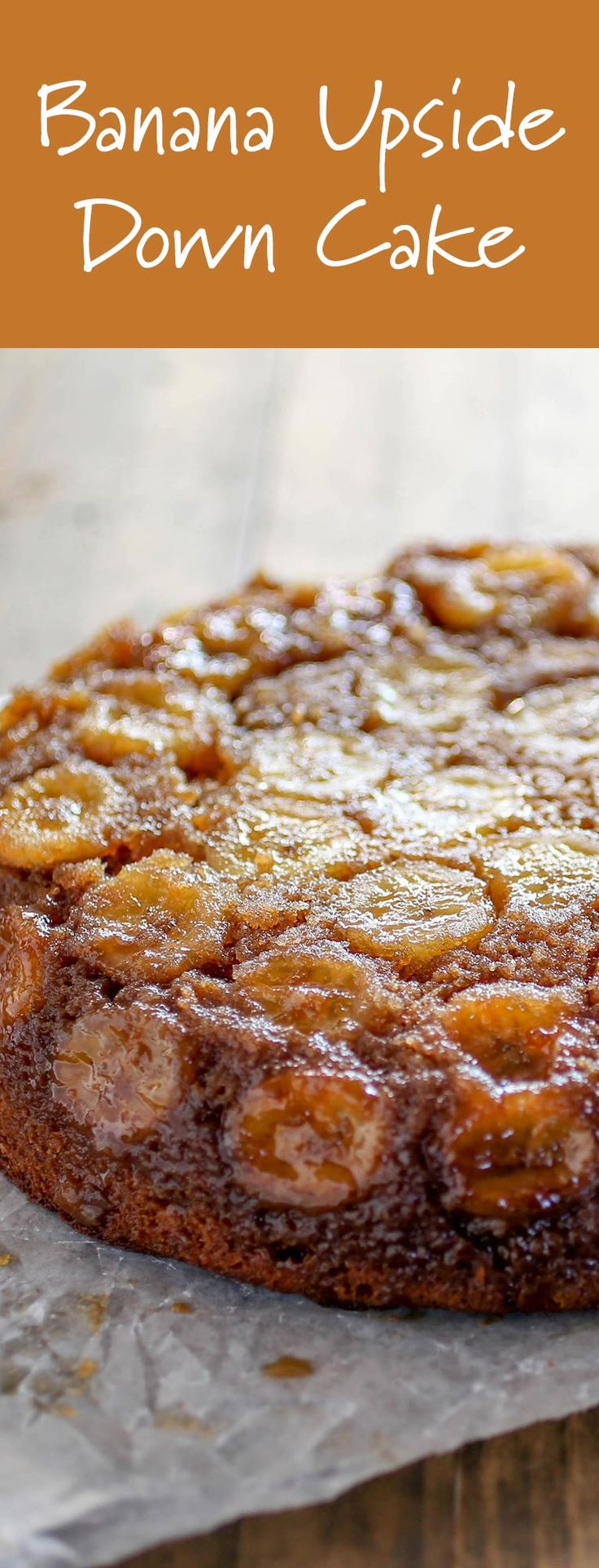 Banana Upside Down Cake-Tired of banana bread but still want to find a use for your ripe bananas? This delish, easy (and gorgeous) Banana Upside Down Cake is a photo worthy solution. Lightly spiced and topped with fresh bananas and caramelized brown sugar, this sweet treat recipe is equally at home on the breakfast table or the dessert table. Great for holiday parties and celebrations year-round, guests of all ages will love this yummy treat.