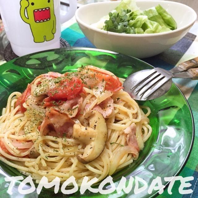 たっぷりトマトとベーコンとぷりぷり椎茸も入れて♩ - 106件のもぐもぐ - フレッシュトマトとベーコンのパスタ♡ by tomokondate