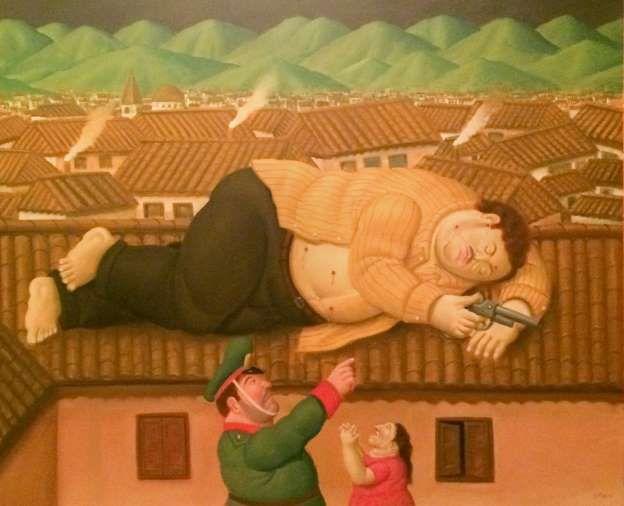 Pablo Escobar muerto, obra del artista Botero
