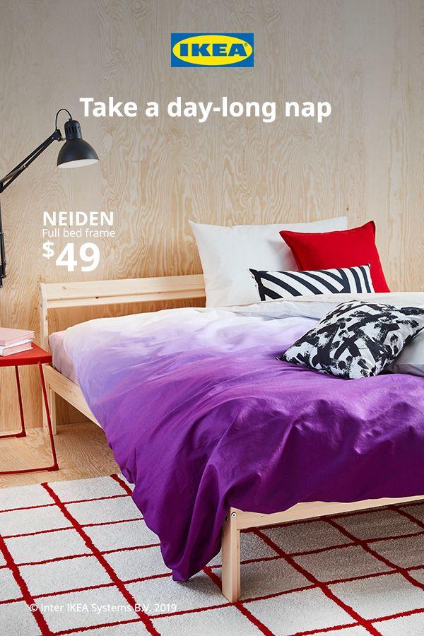 Neiden Bed Frame Pine Full Ikea In 2020 Bed Frame Bed Murphy Bed Ikea