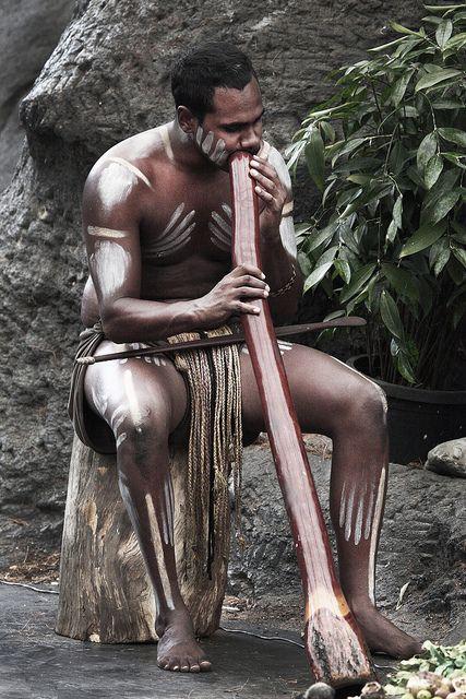 Australia: Aboriginal Culture; Playing the traditional aboriginal musical instrument, the didgeridoo. © Steve Evans