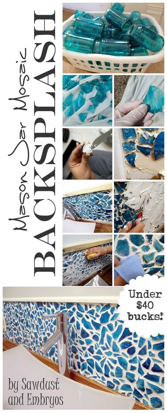 DIY Mason Jar Kitchen Backsplash. Glass dye the inside of mason jars. Smash the jars to create glass 'tiles'. Attach the tiles to your wall. Voila!