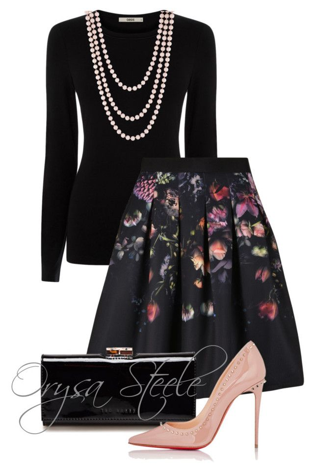 """""""Lovely"""" by orysa ❤ liked on Polyvore featuring Oasis, Ted Baker, Christian Louboutin and Henri Bendel"""