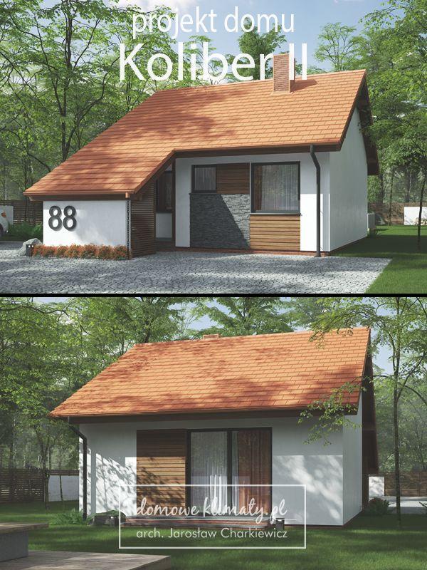 Mały i tani w budowie dom parterowy z antresolą na poddaszu. Może równie dobrze spełniać rolę domu całorocznego, jak i letniskowego. Pomieszczenia na parterze tworzą wygodną przestrzeń mieszkalną dla dwóch osób, zaś antresola pozwala na urządzenie dodatkowego pokoju, miejsca do pracy lub wypoczynku. Zmieści się na bardzo małej działce o szerokości 11,25 m, a po zmniejszeniu nawisów dachu nad ścianami bocznymi nawet 10,45 m.