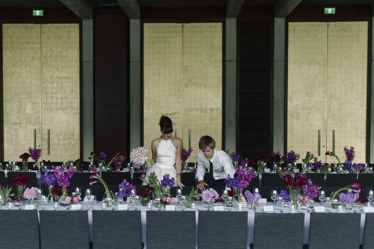 Gandel Hall set-up for an NGA wedding. #wedding #canberra #weddingphotography #tabledecoration #weddingdecor #artywedding