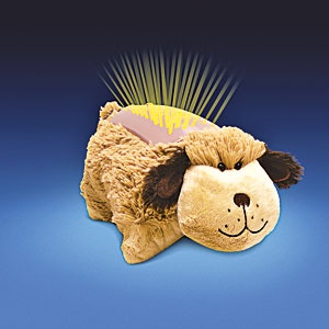 """Dream Lites (TM) (Puppy) - Transforms from lovable plush playmate into comforting nightlights at the push of a button! Color-changing LED lights instantly project a starry sky onto ceiling and walls, while the top """"shell"""" glows to help your child ease off to sleep. $39.98 CAD"""