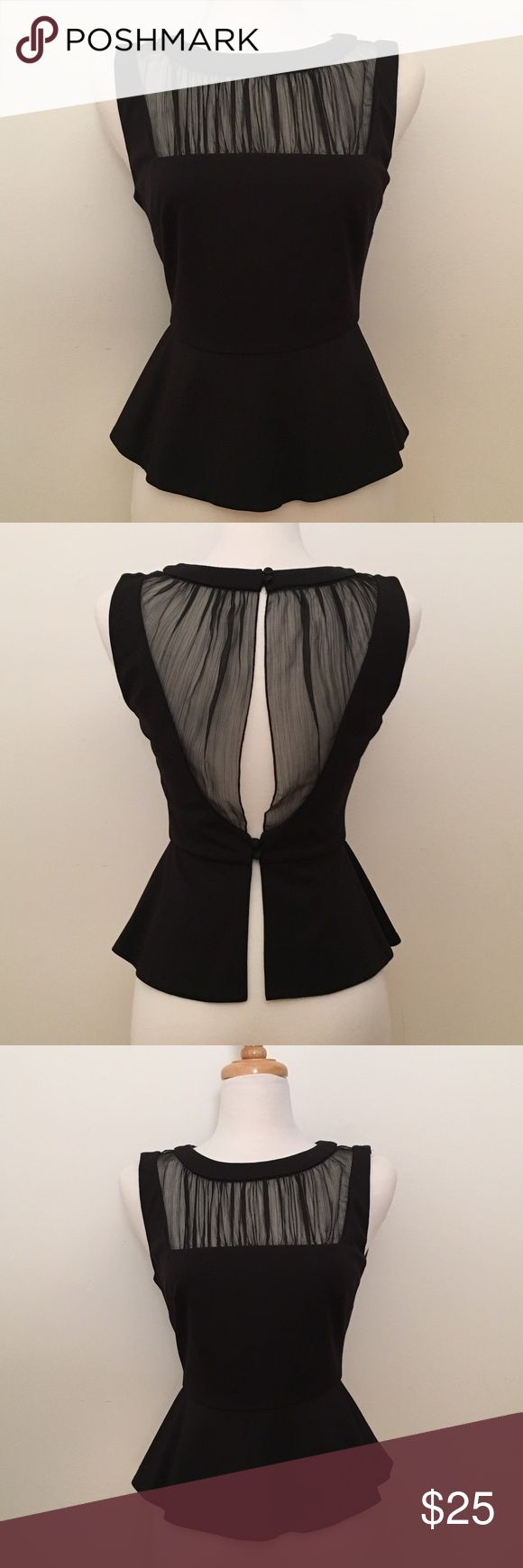 Bebe Black Peplum Top Like new condition. Black peplum top with open back. Feminine sheer detailing bebe Tops Blouses