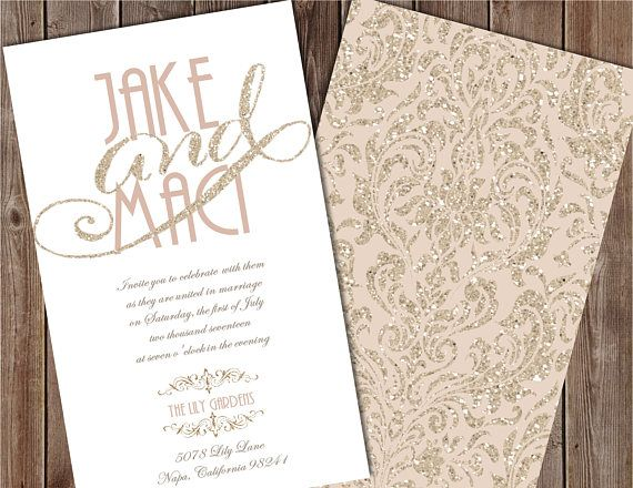 taupe and gold wedding invitation champagne wedding - Champagne Wedding Invitations