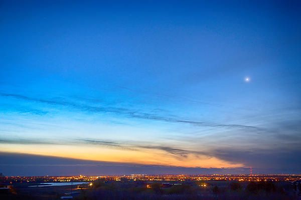 An early morning view of #Longmont #Colorado City lights looking east before the sunrise with a bright view of Planet Venus in the sky.  #Sunrise #Art #Gifts #nature www.BoInsogna.com